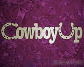 CowBoy Up Unfinished Wood Cut Out Connected Wooden Letters 8.75 x 2 inch