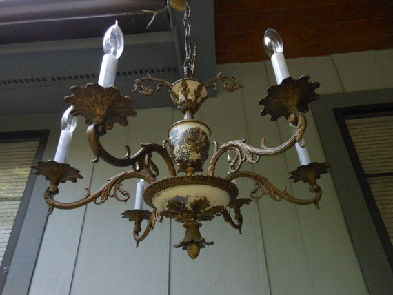 AWESOME DISTRESSED CHANDELIER Shabby Chic Brass Finish Pineapple Ornate Vintage Rewired Spanish Lighting