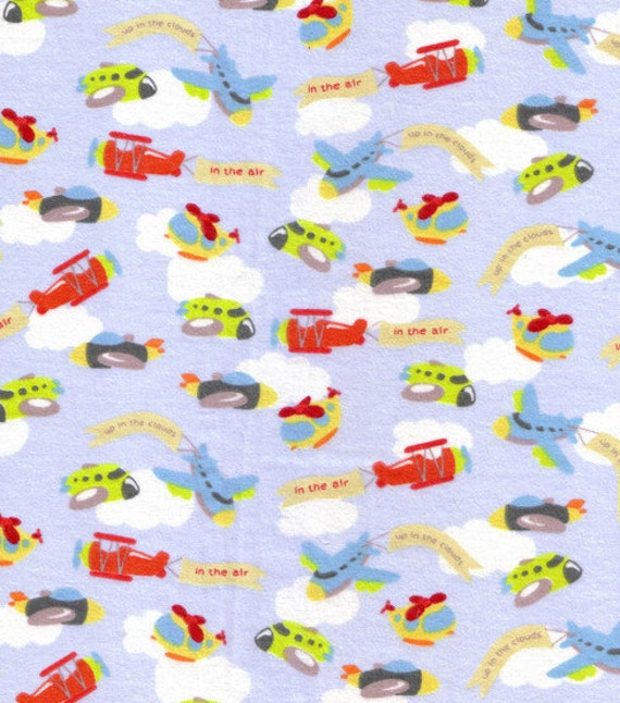 Up in the clouds flannel fabric airplanes helicopters flying for Airplane fabric by the yard