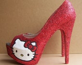 Red Hello Kitty Peep Toe High Heels