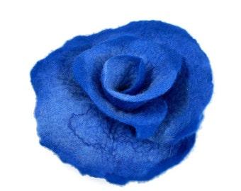 Felted Brooch Nunofelt BLUE cobalt indigo Rose nuno nunofelt silk flower folk boho fairy