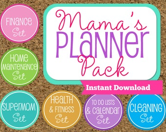 INSTANT DOWNLOAD-Mom Planner Printables- Family Organizer Set-7 Sets Included