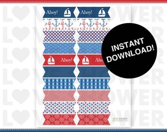 Straw Flag or Food Flags or Drink Flags - Nautical Sailor - Instant Download - Printable