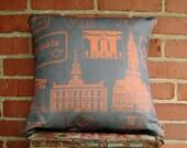 Philadelphia Landmark Pillow - Gray & Orange