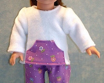18 Inch Doll Clothes - Mauve Corduroy White Polar Fleece Pants Set made to fit 18 inch dolls