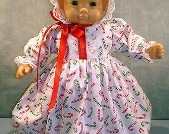 15 Inch Doll Clothes - Christmas Candy Canes on White Baby Gown handmade by Jane Ellen for 15 inch baby dolls