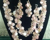 Pink Shaggy Loop Chain Maille Necklace, Earrings, Bracelet Set