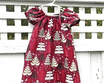 Christmas Dress Holiday Peasant Toddler Dress Sweet and Simple Little Girls Dress with Green and White Trees on Cranberry Red background