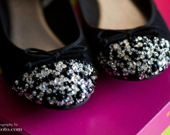 Black flats with Swarovski Crystals