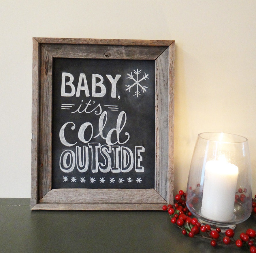 Christmas Sign Decorations: Limited Edition Framed Hand Painted Holiday Chalkboard Sign