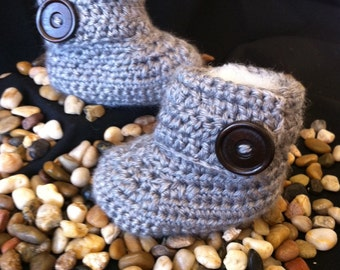 Crochet Gray Baby Ugg Boots with Wood Button Closure