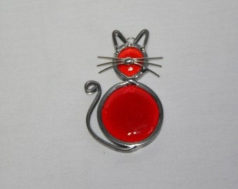 Stained Glass Orange Cat Ornament, Suncatcher