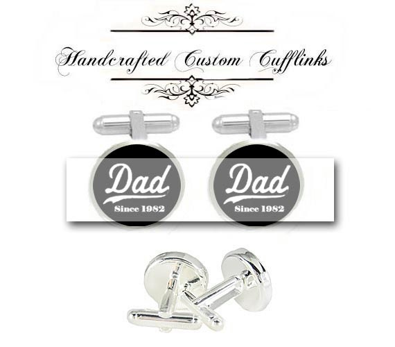 father of bride groom DAD daddy since custom date men Cufflinks groomsmen Wedding Anniversary birthday husband father fiancée gift cuff link