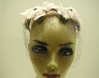 50s netted floral hat