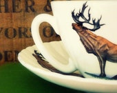 Vintage retro kitsch stag, deer, caribou, unusual tea cup candle (soya wax).