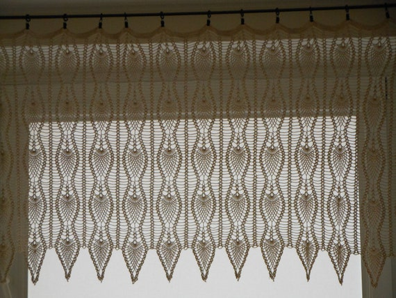 Crochet Patterns Valances : Crochet Curtain Lace Window Valance by MyKnitCroch on Etsy