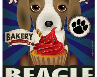 Beagle Cupcake Company Original Art Print - Custom Dog Breed Art - 11x14 - Personalize with Your Dog's Name - Dogs Incorporated