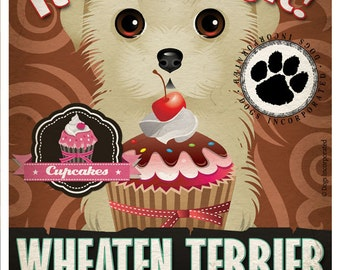 Wheaten Terrier Cupcake Company Original Art Print - Custom Dog Breed Print -11x14- Customize with Your Dog's Name - Dogs Incorporated