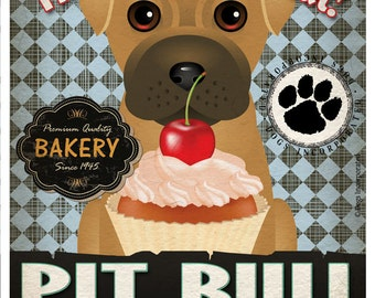 Pit Bull Cupcake Company Original Art Print - Custom Dog Breed Print -11x14- Customize with Your Dog's Name - Dogs Incorporated