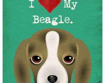 I Love My Beagle - I Heart My Beagle - I Love My Dog - I Heart My Dog Print - Dog Lover Gift Pet Lover Gift - 11x14  Dog Poster