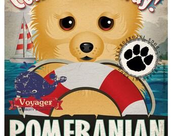 Pomeranian Sailing Company Original Art Print - 11x14 - Customize with Your Dog's Name