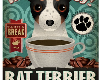 Rat Terrier Coffee Bean Company Original Art Print - Custom Dog Breed Art - 11x14