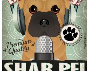 Shar Pei Studio Original Art Print - Custom Dog Breed Print - 11x14 - Personalize with Your Dog's Name