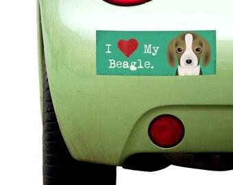 "Dogs Incorporated I Love My Beagle - I Heart My Dog Bumper Sticker 3""x 8"" Coated Vinyl"