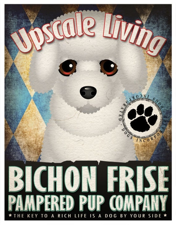 Bichon Frise Pampered Pups Original Art Print - 11x14 - Dog Poster - Dogs Incorporated