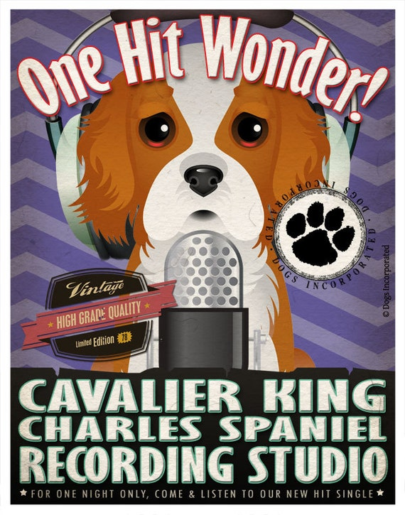 Cavalier King Recording Studio Original Art Print - Custom Dog Breed Print - 11x14 - Personalize with Your Dog's Name