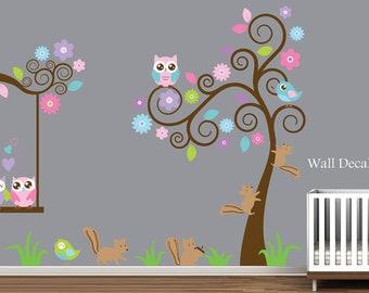 Nursery Wall Decal - Tree, Birds, Owls - Kids Wall Decal