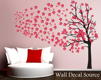 Tree Wall Sticker - Red Cherry Blossom Decal - Red Flowers Tree