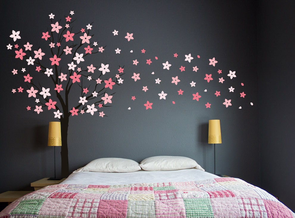 Pink cherry blossom wall decal elitflat tree wall decal pink cherry blossom wall decal windy mightylinksfo