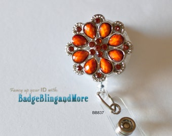 Cute Small Orange round Flower -(clear)RETRACTABLE /Swivel Reel/Spring Clip - Badge Holder BB837