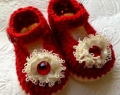 Christmas Baby Booties, Holiday Baby Booties, Red Booties