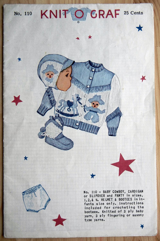 Knit-O-Graf Knitting Pattern No 110 Baby Cowboy Cardigan