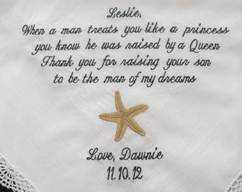 Starfish personalized lacy wedding handkerchief for your Mother in law.. Beach theme weddings, Free Gift Box included