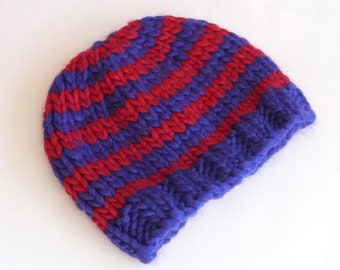 Children's knitted striped beanie hat in purple and red