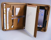 iPad 4 Leather Portfolio Case with inside Writing Pad for Apple iPad 3 with iPhone 6 and Accessories Pockets