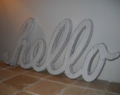 wood sign Hello sign typography shabby chic cottage chic vintage inpired white distressed sign