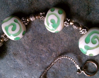 Bead Necklace in Green and White, Was 59.00!  Beautiful One of a Kind Lampwork