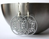Tatted lace earrings, silver tatting, sterling silver ear wires, Swarovsky rhinestones.