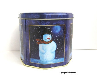 Vintage Snowman cannister, candy tin, Frosty the Snowman, cobalt lapis blue with snowflakes, Christmas decor, use for gift giving