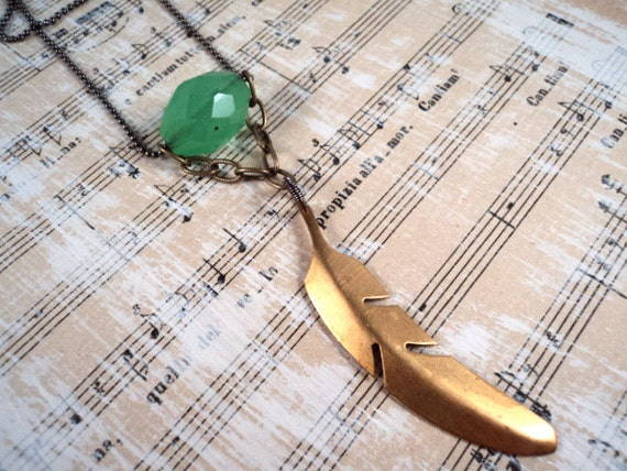 Boho Charm Necklace - Vintage Charms Feathers Chrysoprase