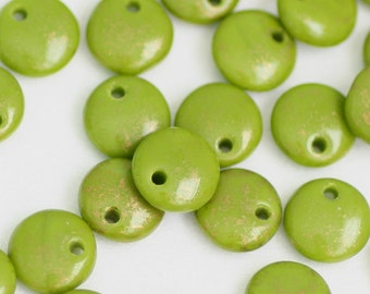 6mm Olive Green Lentils with Gold Marbling, Czech Glass Spacer Beads, Discs, Choose Quantity, CG-3