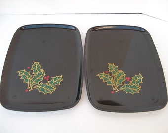 Pair of Couroc Christmas Holly and Berry Design Serving Trays Monterey California