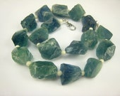 unique natural green fluorite mineral raw nugguts necklace