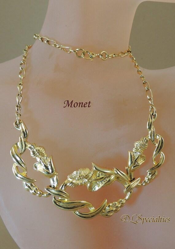 monet vintage jewelry unique gold necklace