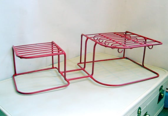 RESERVED 2 Dish Racks: Vintage Red Rubber Coated Wire