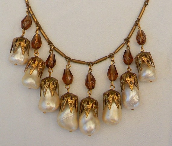 Vintage 1930s Miriam Haskell Czech Style Faux Baroque Pearl Smoky Topaz Crystal Gilt Brass Filigree Necklace